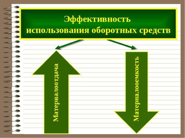 Эффективность использования оборотных средств Материалоотдача