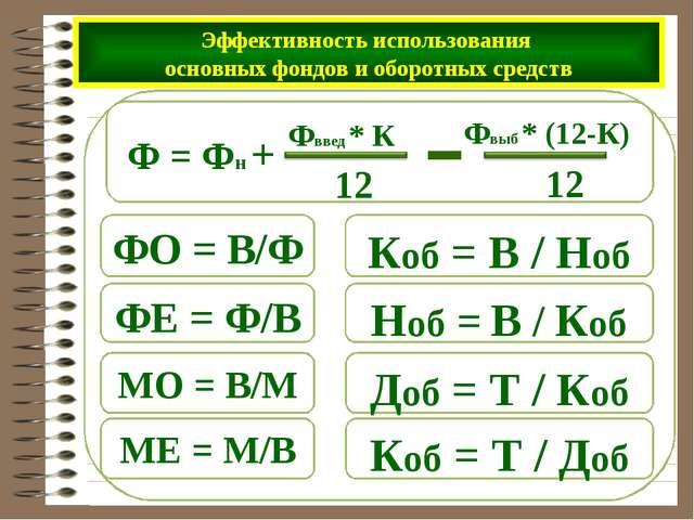 Доб = Т / Коб Коб = Т / Доб Эффективность использования основных фондов и обо...