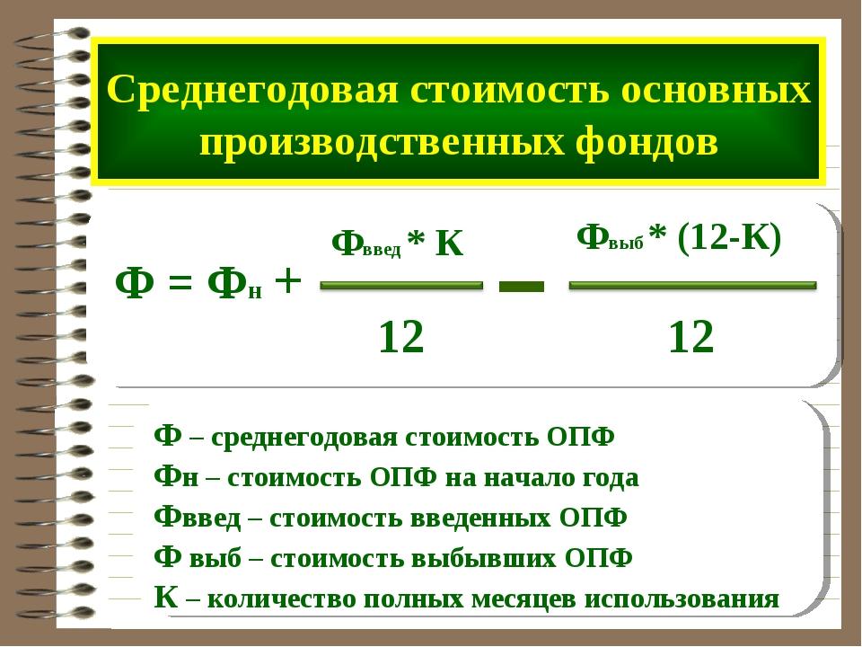Среднегодовая стоимость основных производственных фондов Ф = Фн + Фввед * К 1...