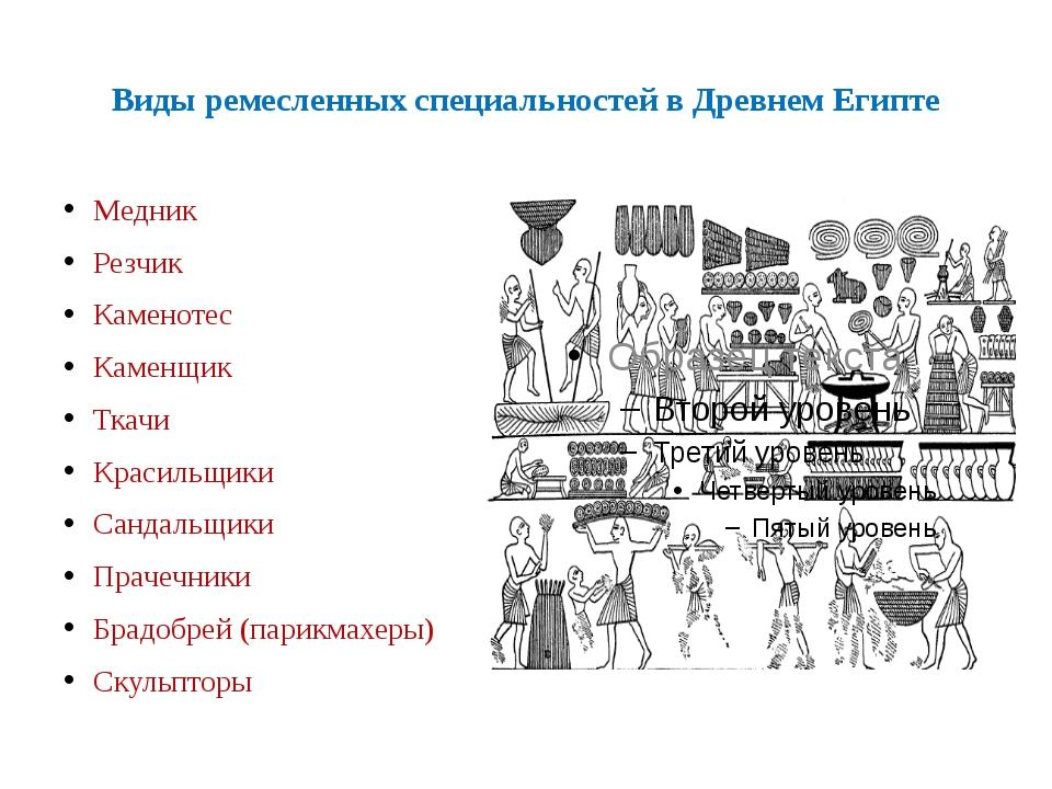 Виды ремесленных специальностей в Древнем Египте Медник Резчик Каменотес Каме...