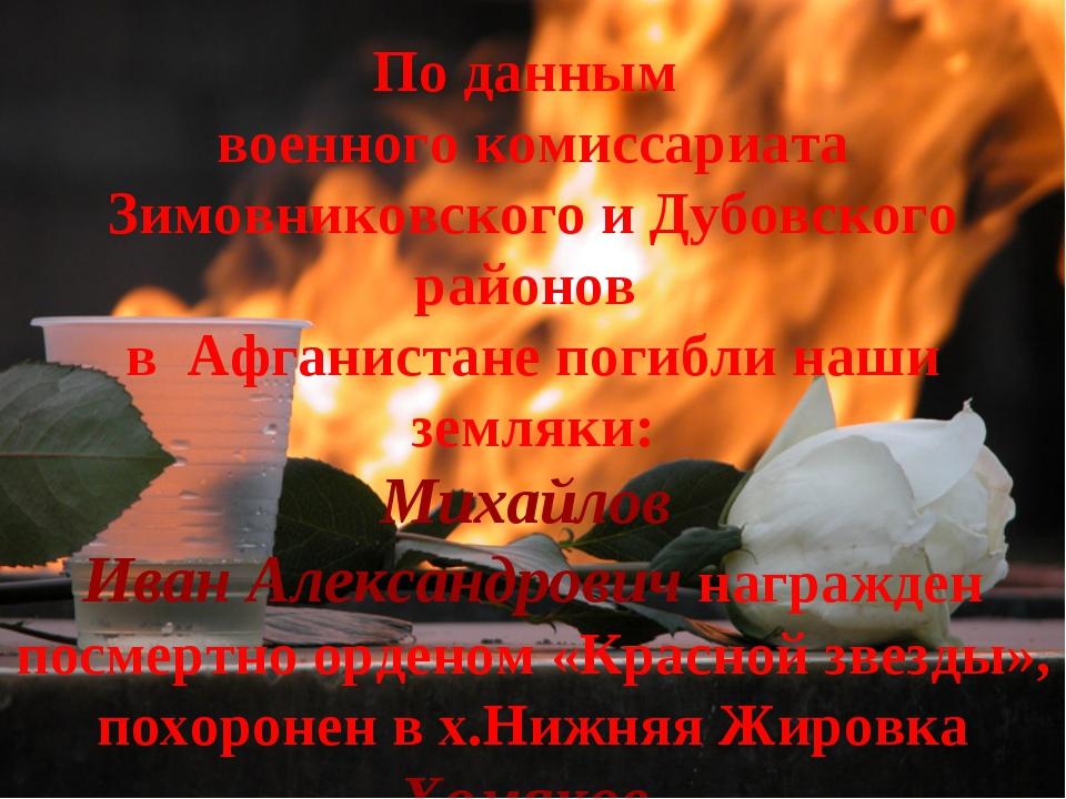 По данным военного комиссариата Зимовниковского и Дубовского районов в Афгани...