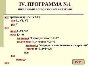 IV. ПРОГРАММА №1 школьный алгоритмический язык алг время (вещ L,V1,V2,T) арг
