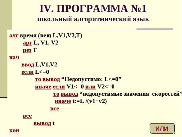 IV. ПРОГРАММА №1 школьный алгоритмический язык алг время (вещ L,V1,V2,T) арг...