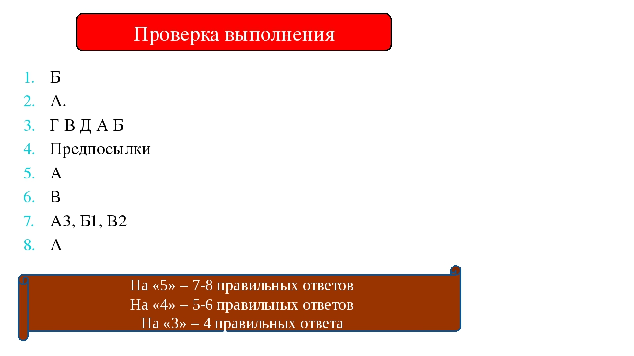 Проверка выполнения Б А. Г В Д А Б Предпосылки А В А3, Б1, В2 А На «5» – 7-8...