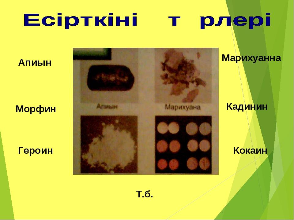 Апиын Морфин Героин Марихуанна Кадинин Кокаин Т.б.