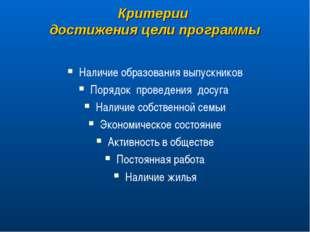 Критерии достижения цели программы Наличие образования выпускников Порядок пр