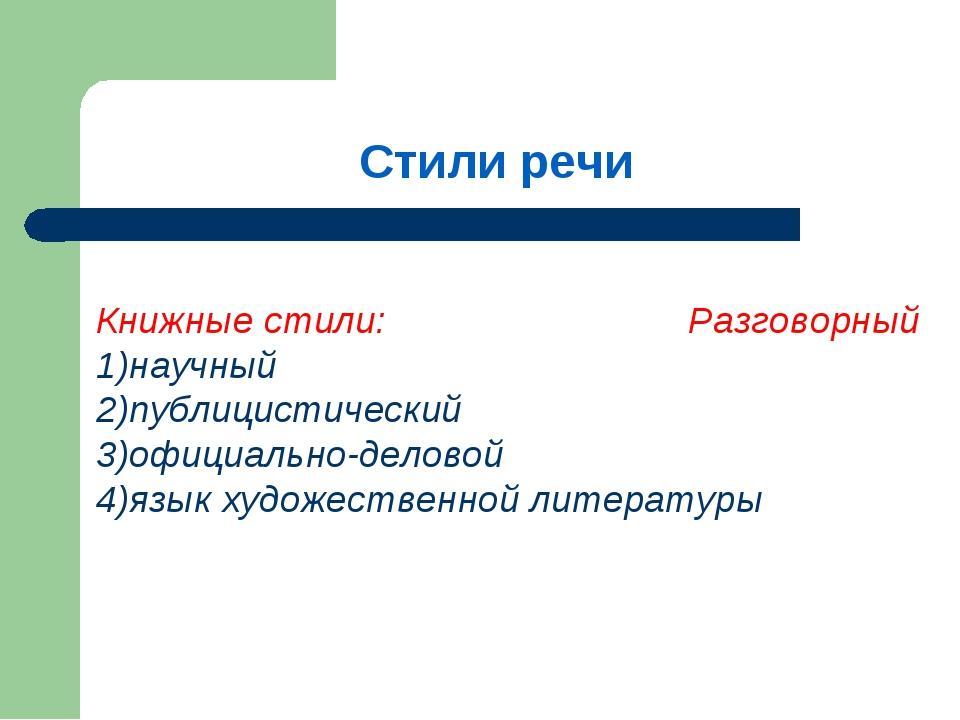 Стили речи Книжные стили: Разговорный 1)научный 2)публицистический 3)официаль...