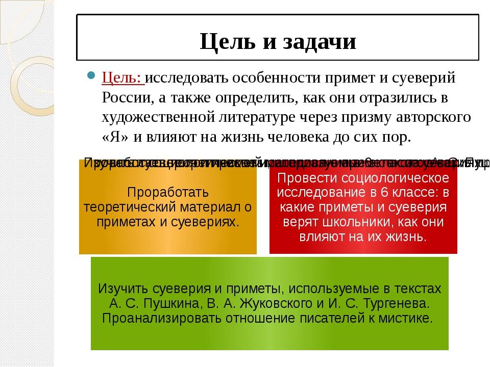 Цель и задачи Цель: исследовать особенности примет и суеверий России, а такж...