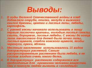Выводы: В годы Великой Отечественной войны в хлеб добавляли отруби, опилки, ж