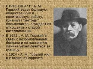 В1918-1919 г.г. A. M. Горький ведет большую общественную и политическую работ