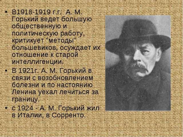 В1918-1919 г.г. A. M. Горький ведет большую общественную и политическую работ...