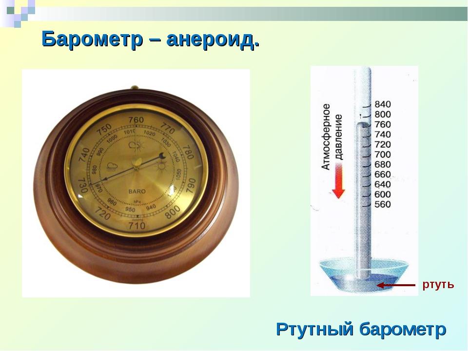 Барометр – анероид. Ртутный барометр ртуть