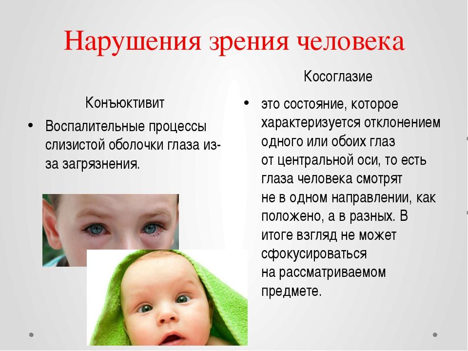 Нарушения зрения человека Конъюктивит Косоглазие Воспалительные процессы слиз...