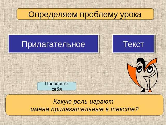 Определяем проблему урока Проверьте себя Прилагательное Текст Какую роль игра...