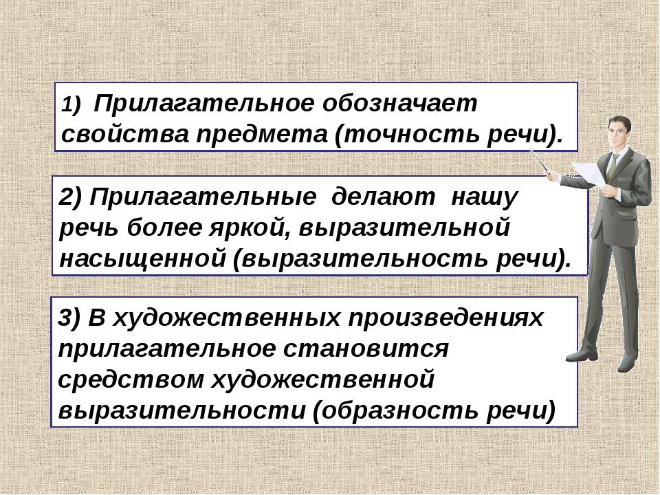 1) Прилагательное обозначает свойства предмета (точность речи). 3) В художест...
