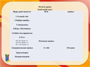 Итоги урока Зачётный лист Виды деятельности Ф.И. оценка 1.Устный счёт 2.Найди