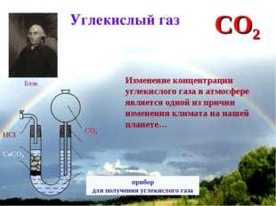 * Углекислый газ Изменение концентрации углекислого газа в атмосфере является