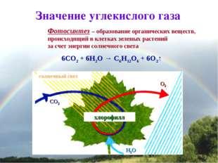 * Значение углекислого газа Фотосинтез – образование органических веществ, пр