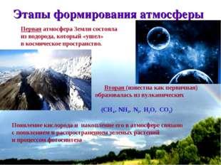 * Этапы формирования атмосферы Первая атмосфера Земли состояла из водорода, к