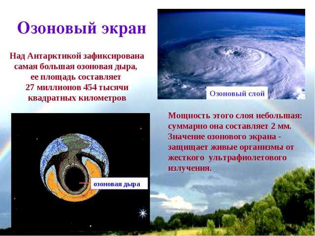 * Озоновый экран Мощность этого слоя небольшая: суммарно она составляет 2 мм....