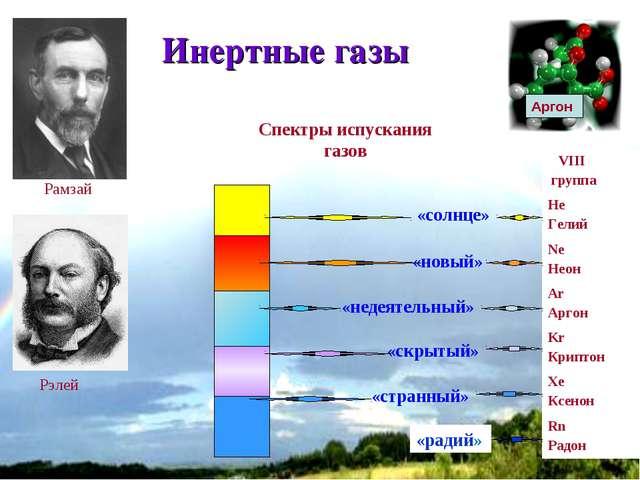 * Инертные газы Рамзай Рэлей «солнце» «новый» «недеятельный» «скрытый» «стран...
