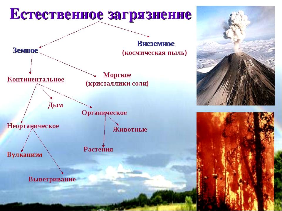 * Естественное загрязнение Земное Внеземное (космическая пыль) Континентально...