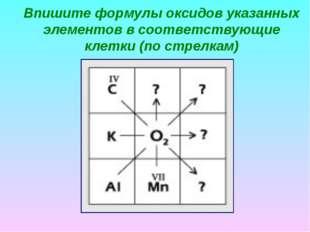 Впишите формулы оксидов указанных элементов в соответствующие клетки (по стре