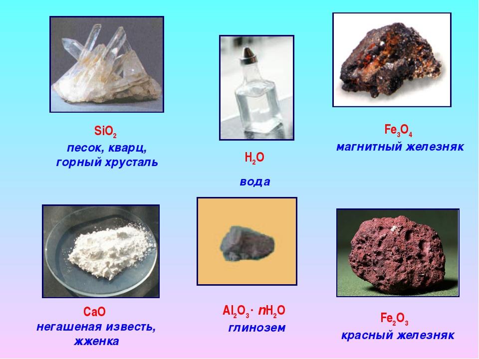 SiO2 песок, кварц, горный хрусталь Fe3O4 магнитный железняк CaO негашеная изв...