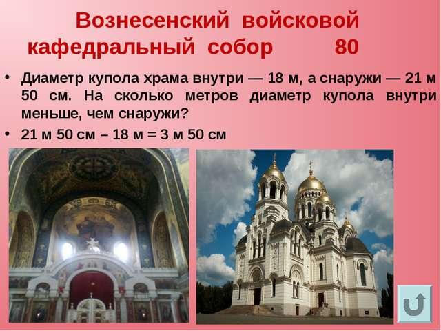 Вознесенский войсковой кафедральный собор 80 Диаметр купола храма внутри— 18...