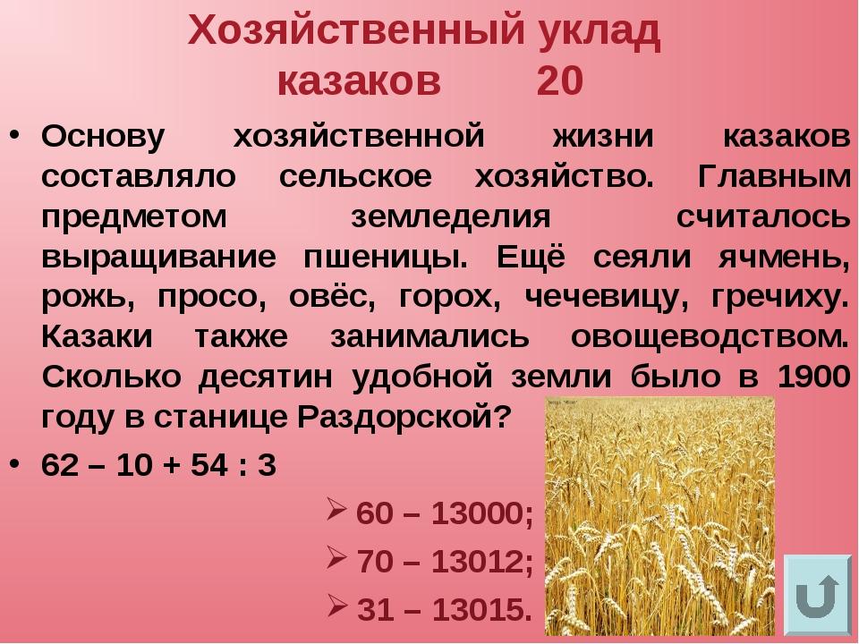 Хозяйственный уклад казаков 20 Основу хозяйственной жизни казаков составляло...