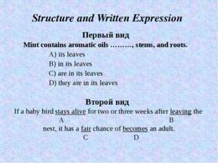 Structure and Written Expression Первый вид Mint contains aromatic oils ………,