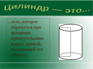 ...тело, которое образуется при вращении прямоугольника вокруг прямой, содерж