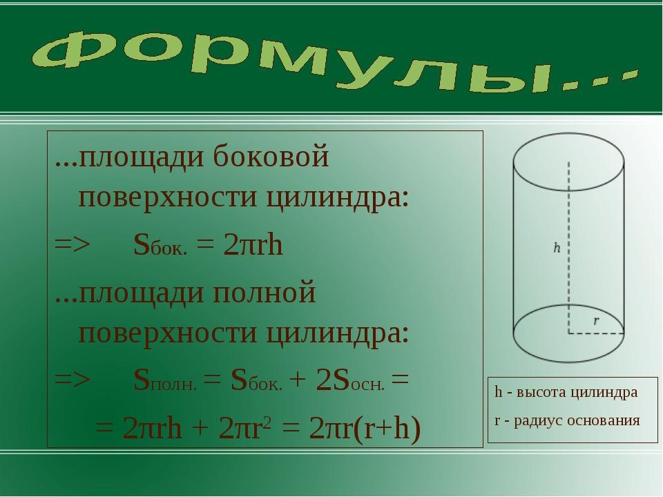 ...площади боковой поверхности цилиндра: => Sбок. = 2πrh ...площади полной по...