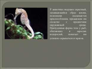 У животных ведущих скрытный, затаивающийся образ жизни, полезными оказываютс