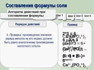 Составление формулы соли 1. Записать химические знаки металла и кислотного ос