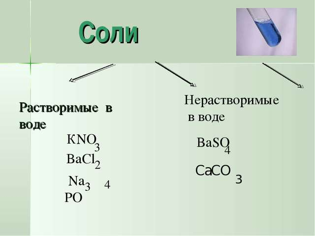 Растворимые в воде Соли Нерастворимые в воде BaSO 4 КNO 3 Na PO 3 4 BaCl 2 C...
