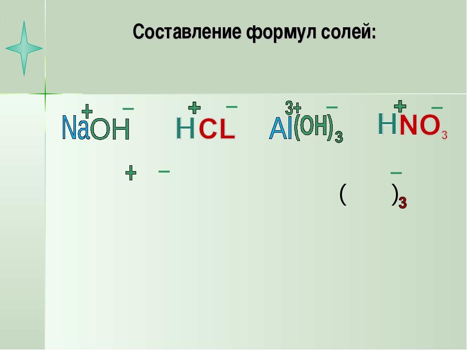 Составление формул солей: ( )