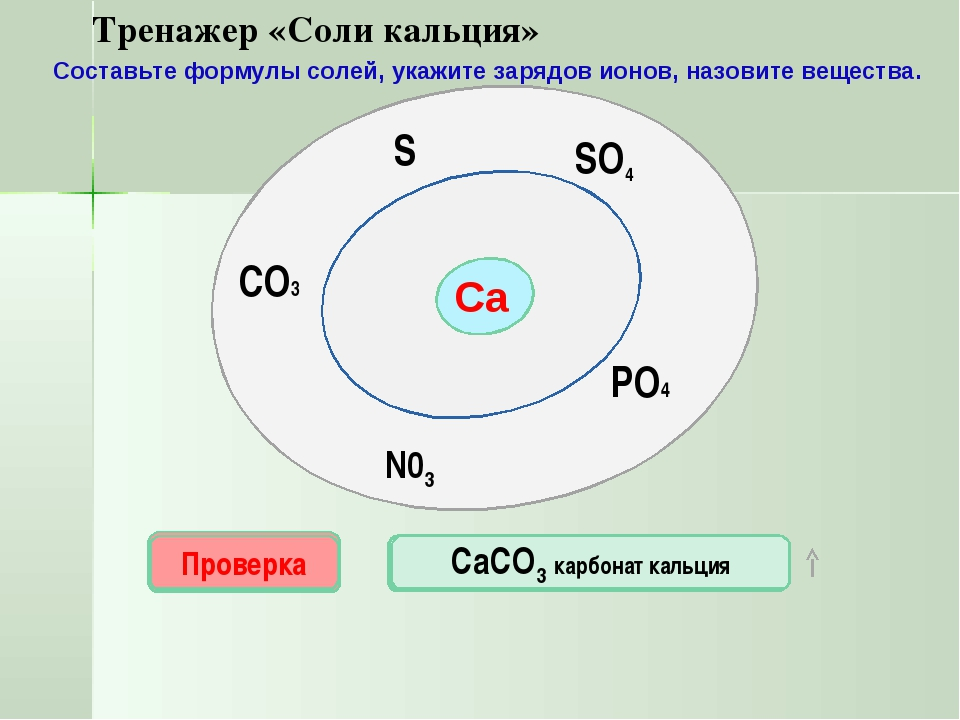 Са SO4 N03 PO4 S CO3 Проверка CaS СаSО4 Проверка Проверка Проверка Проверка С...