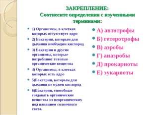 ЗАКРЕПЛЕНИЕ: Соотнесите определения с изученными терминами: 1) Организмы, в к