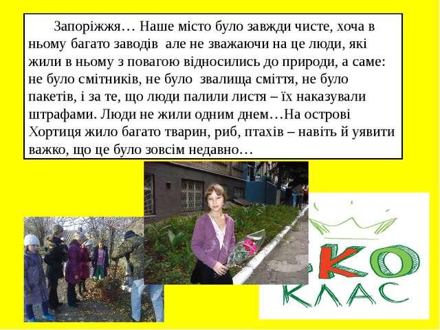 Запоріжжя… Наше місто було завжди чисте, хоча в ньому багато заводів але не...