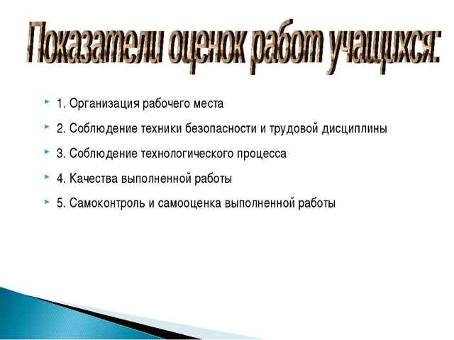 1. Организация рабочего места 2. Соблюдение техники безопасности и трудовой д...