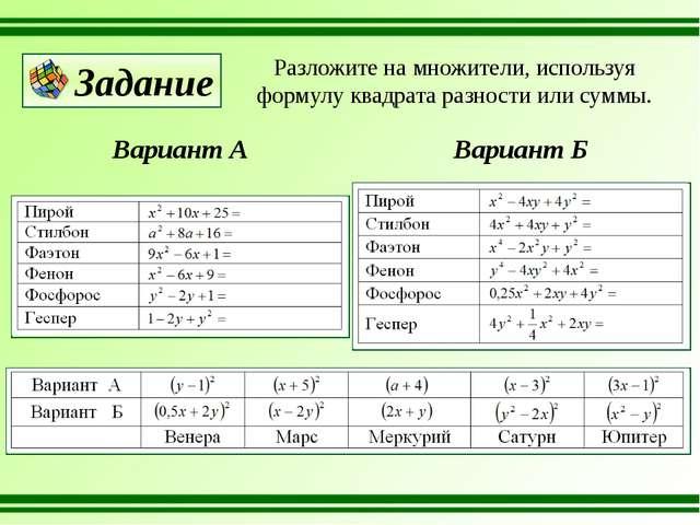 Разложите на множители, используя формулу квадрата разности или суммы. Вариан...