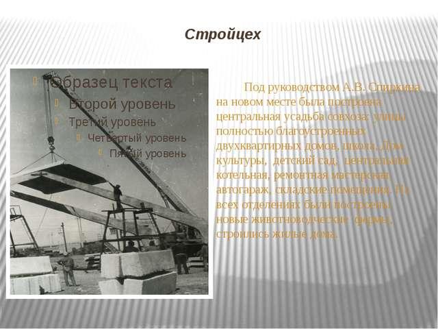 Стройцех Под руководством А.В. Спиркина на новом месте была построена централ...