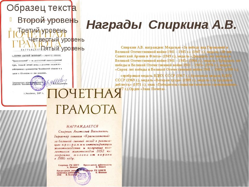 Награды Спиркина А.В. Спиркин А.В. награжден: Медалью «За победу над Германие...