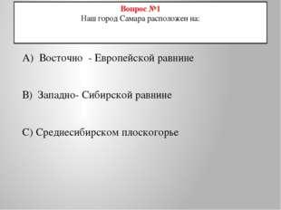 Вопрос №1 Наш город Самара расположен на: А) Восточно - Европейской равнине В