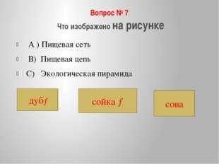 Вопрос № 7 Что изображено на рисунке А ) Пищевая сеть В) Пищевая цепь С) Экол