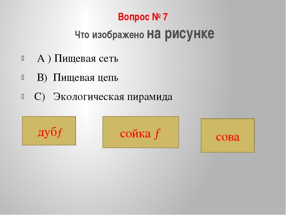 Вопрос № 7 Что изображено на рисунке А ) Пищевая сеть В) Пищевая цепь С) Экол...