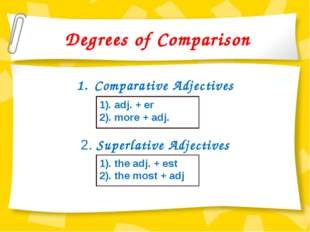 Degrees of Comparison Comparative Adjectives 2. Superlative Adjectives 1). ad