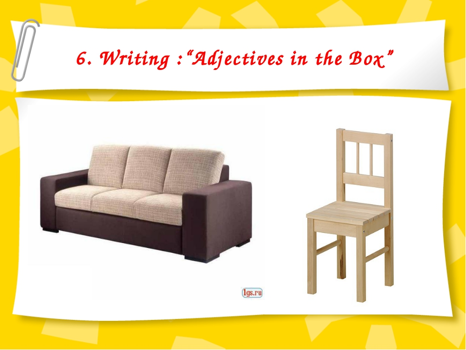 "6. Writing :""Adjectives in the Box"""