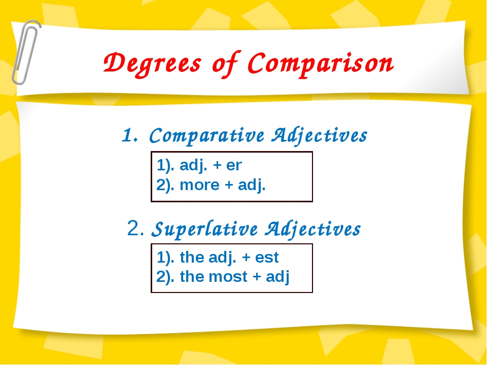 comparison of adjective Comparative adjective comparative adjectives are adjectives that compare differences between the attributes of two nouns these are often measurements, such as height, weight.
